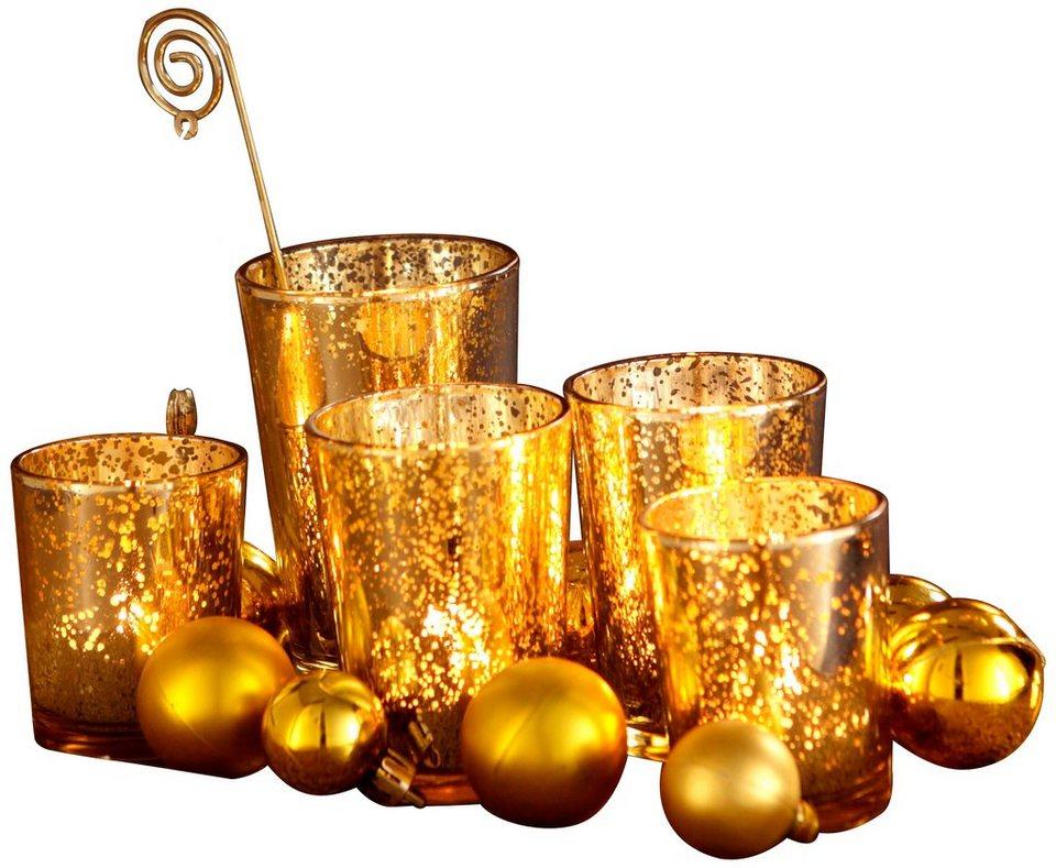 Leuchterschalen-Set (5-tlg.) in goldfarben
