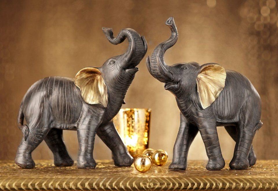 Elefanten-Paar (2-tlg.) in Braun, mit goldfarbenen Verzierungen