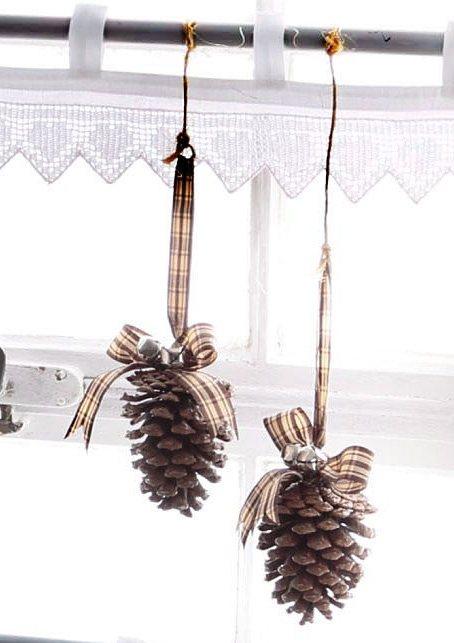 Zapfen-Dekoration (6tlg.) in braun