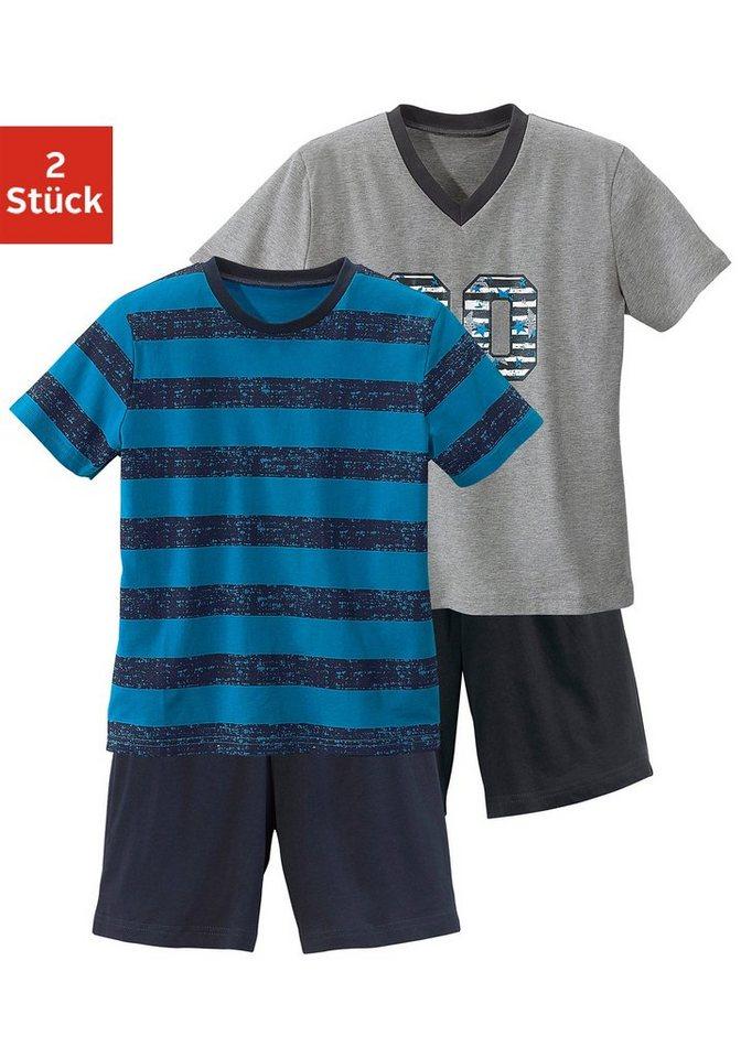 Shorty (2 Stück), Pyjama's in kurzer Form mit lässigem Druck und gedruckten Streifen in türkis gestreift + grau meliert mit Druck