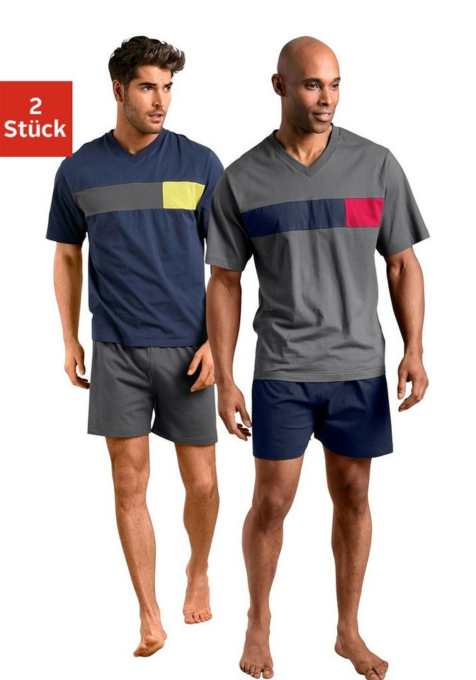 Le Jogger, Shorty (2 Stück), Pyjamas, kurz in marine + grau