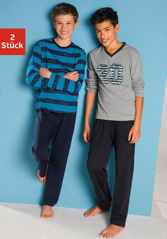 Pyjamas (2 Stück), mit lässigem Druck und gedruckten Streifen in türkis gestreift + grau meliert mit Druck