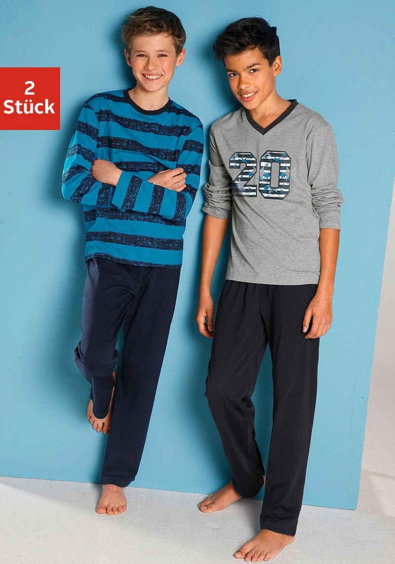 Pyjama (2 tlg) mit lässigem Druck und gedruckten Streifen