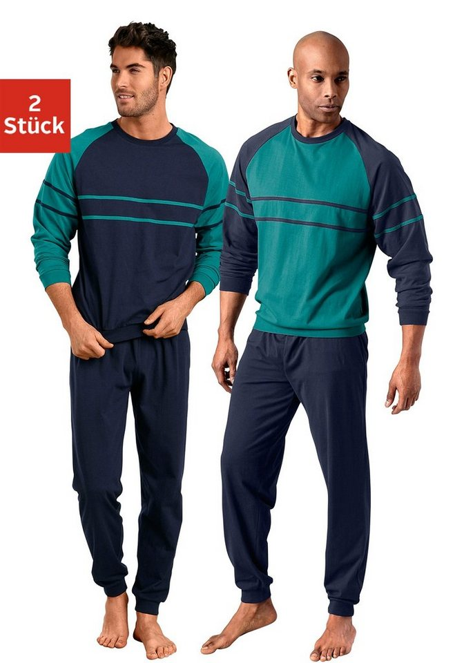 Le Jogger, Pyjamas (2 Stück), lang mit Pipings | Bekleidung > Wäsche > Nachtwäsche | Grün | Baumwolle | le jogger®