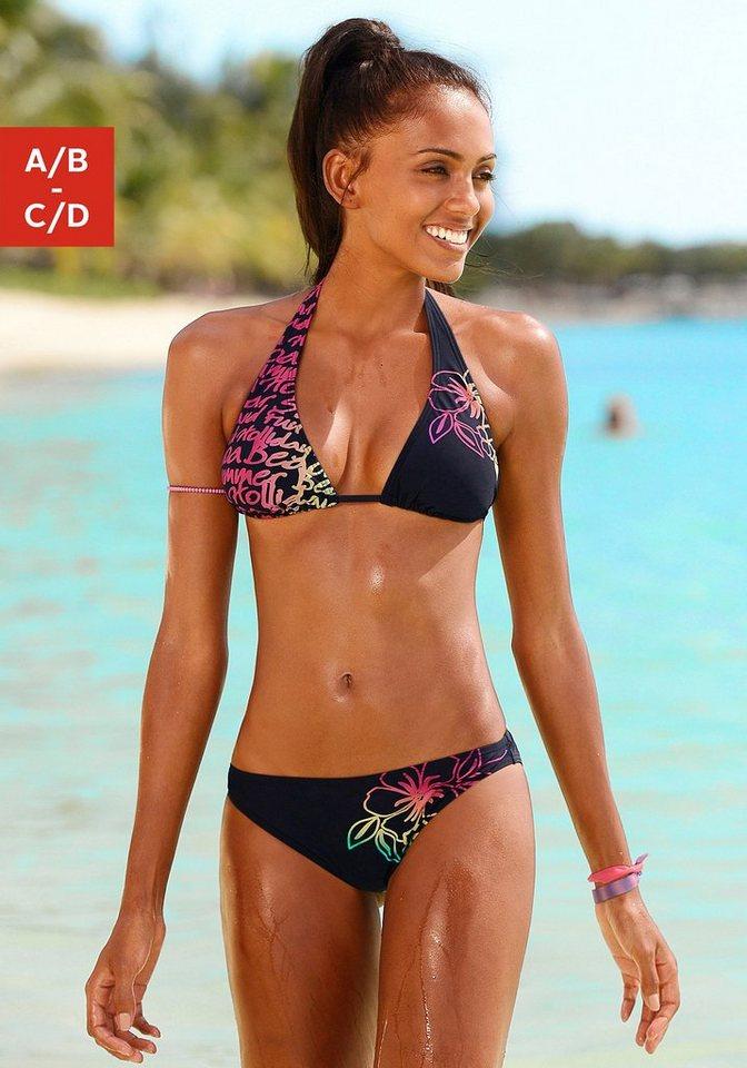 Damen Chiemsee Triangel-Bikini mit Neon- Druck schwarz | 04893848205746