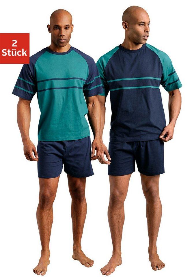 Le Jogger, Shorty (2 Stück), Pyjamas, kurz in grün + marine