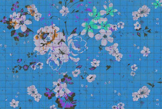 living walls Fototapete »Walls by Patel Flower Plaid 3«, glatt, (4 St)