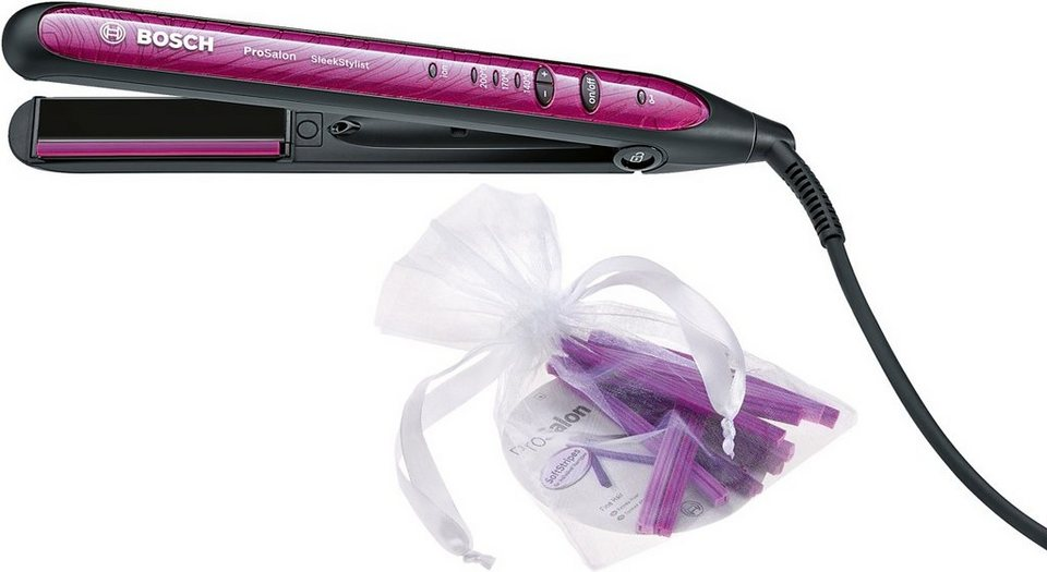 Bosch, Haarglätter, PHS9460 ProSalon SleekStylist in schwarz/wild pink metallic