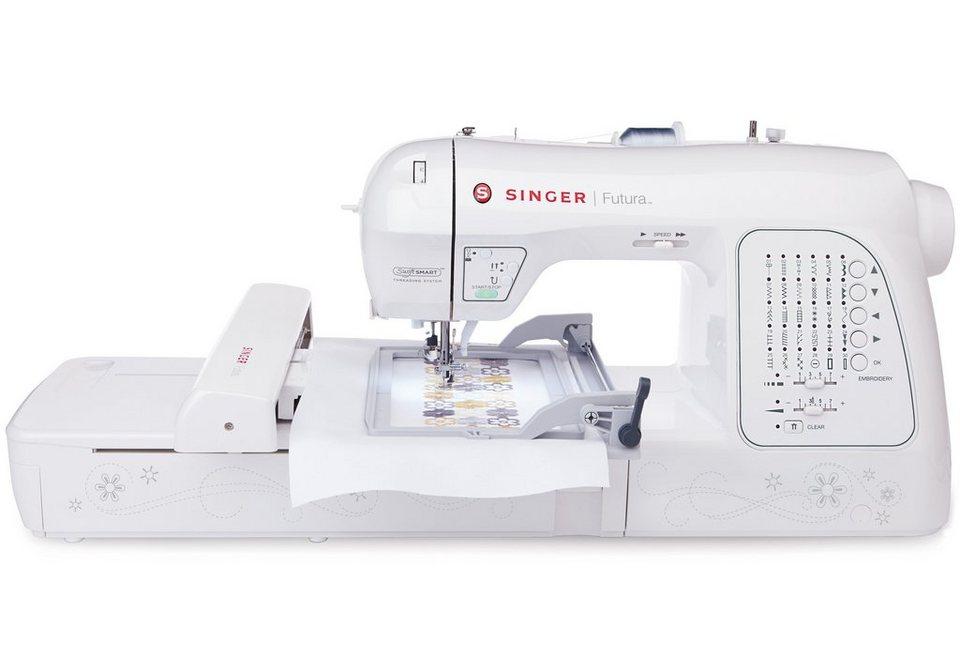 Singer Nähmaschine, Stickmaschine XL-420, 30 Programme, 2 Stickrahmen, 200 Designs, mit Zubehör in weiß
