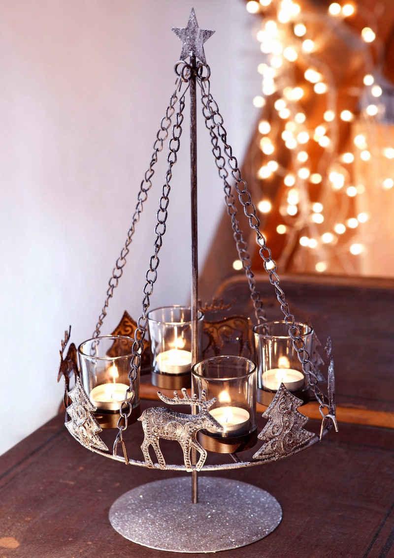 Home affaire Adventsleuchter, Metall, inkl. 4 Glaswindlichtern
