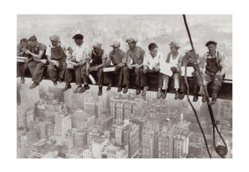 Home affaire Wandbild, Größe 90 x 60 cm, »Eating above Manhattan« in grau