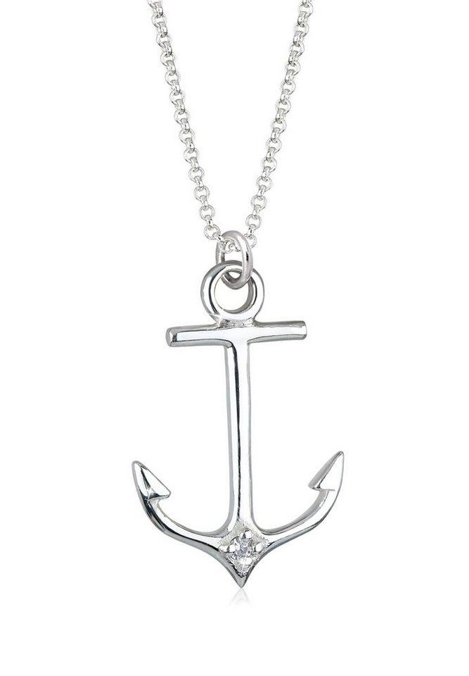 Elli Halskette »Anker Maritim Hanseatisch 925 Silber« in Weiß