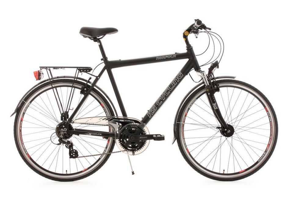 Herren-Trekkingrad, 28 Zoll, schwarz, 24 Gg. Kettenschaltung, Flachlenker, »Norfolk«, KS Cycling in schwarz