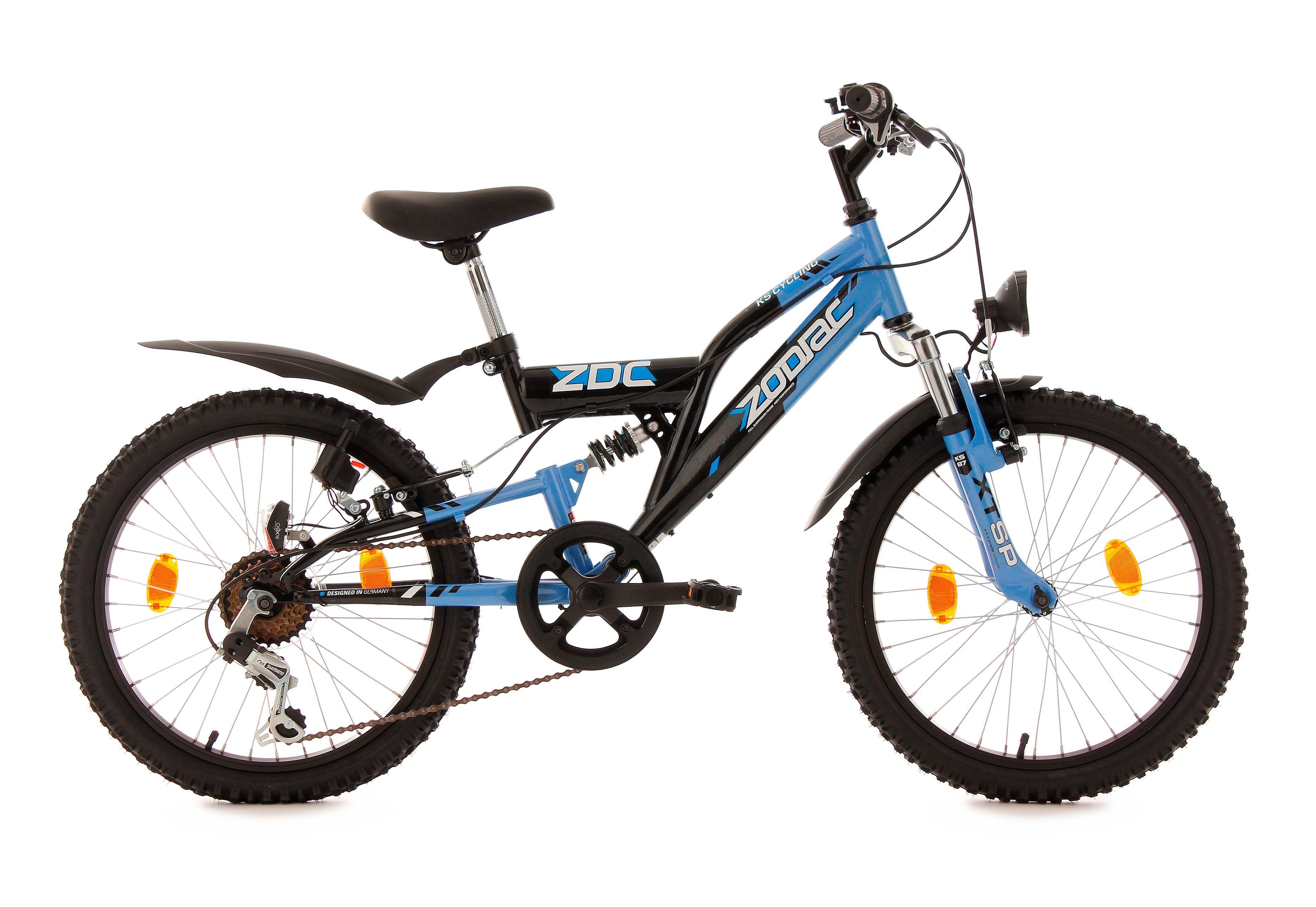 Fully Jugend-Mountainbike, 20 Zoll, blau-schwarz, 6-Gang-Kettenschaltung, »Zodiac«, KS Cycling