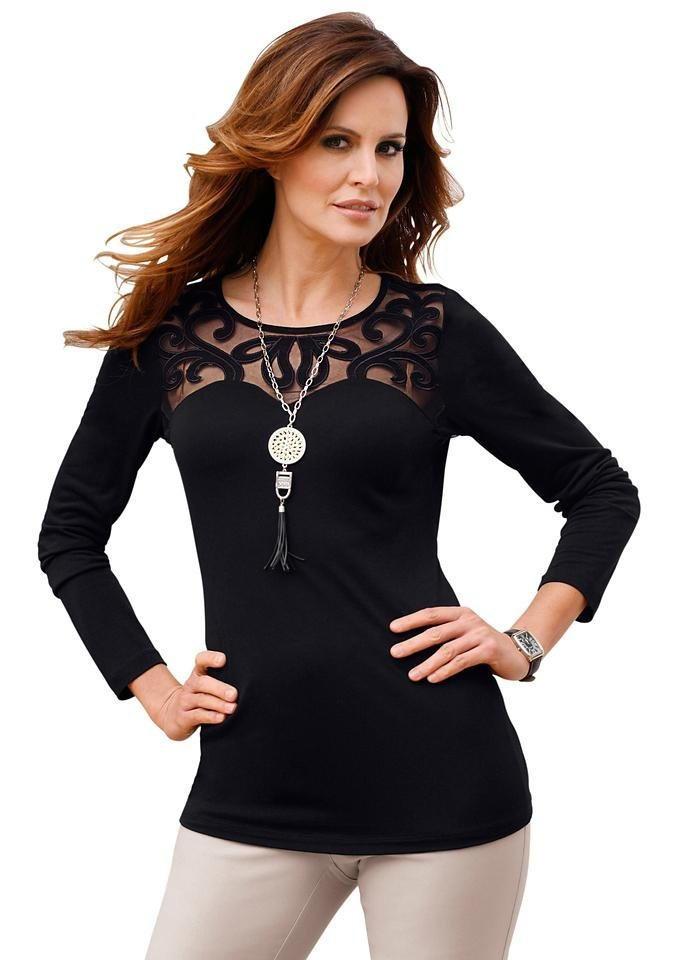 Alessa W. Shirt mit Applikationen in schwarz