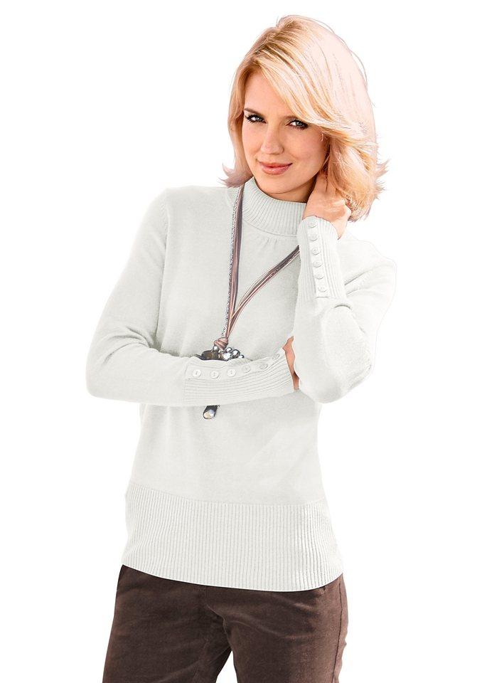 Classic Inspirationen Pullover mit höherem Rippbund an Saum in weiß