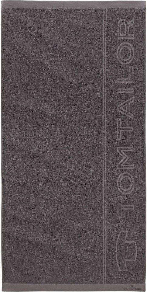 Saunatuch, Tom Tailor, »Sam«, mit großem Logodruck in dunkelgrau