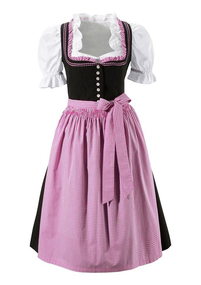 Dirndl 3tlg. in schwarz-pink