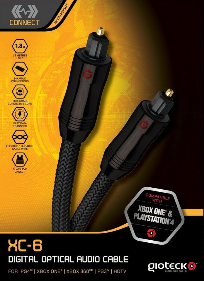 Gioteck optisches Audio-Kabel 1,8m »(PS4 PS3 XBox One X360)«