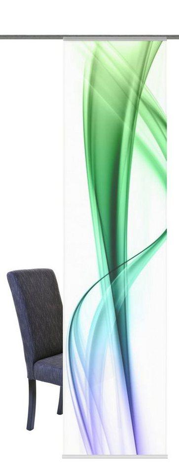 Schiebegardine, Home Wohnideen, »Dalton«, mit Klettband (1 Stück mit Zubehör) in blau-grün