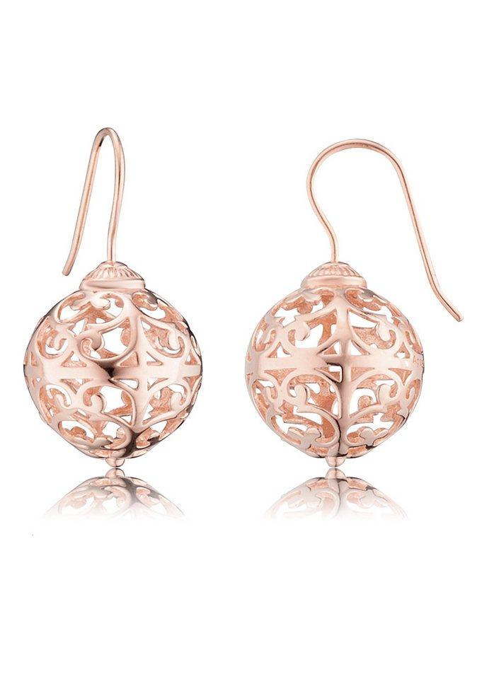 Paar Ohrhaken, »ERE-ER1-R«, Engelsrufer in Silber 925, roségoldfarben vergoldet
