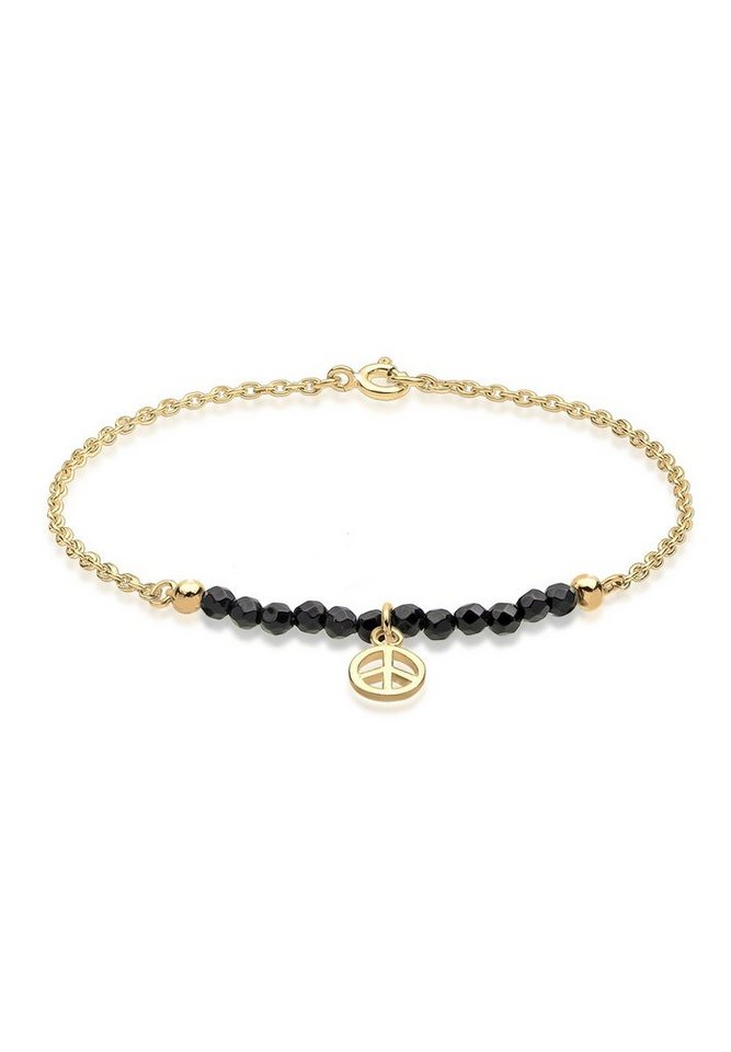 GOLDHIMMEL Armband »Peace-Zeichen Onyx vergoldet« in Schwarz