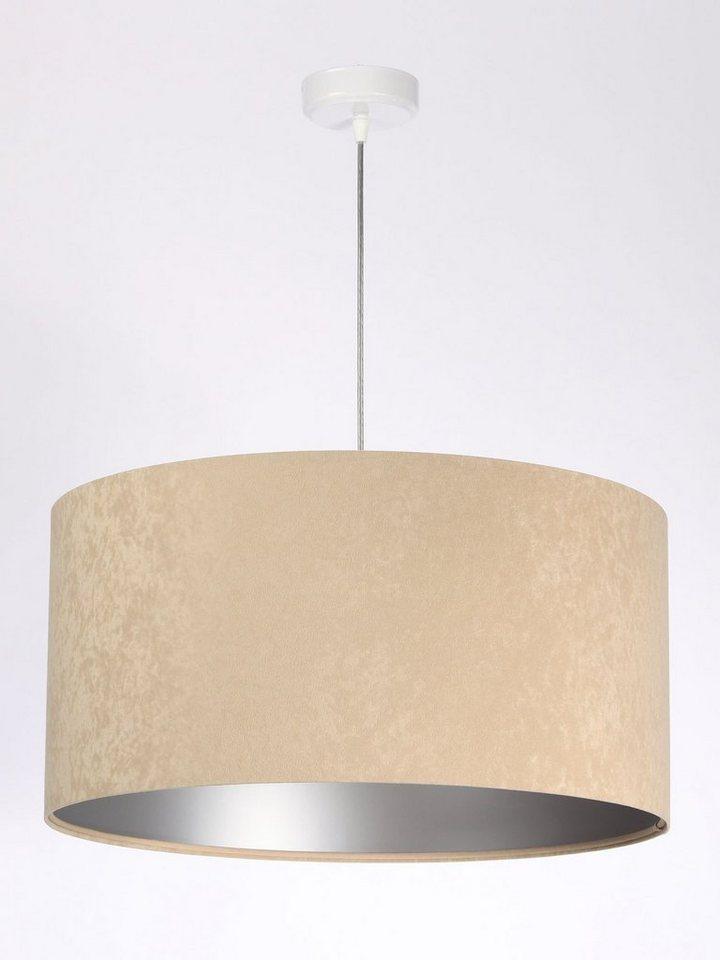 Licht Erlebnisse Pendelleuchte KYARA Pendelleuchte Beige Silber Stoff Velours Optik Schlafzimmer Lampe online kaufen