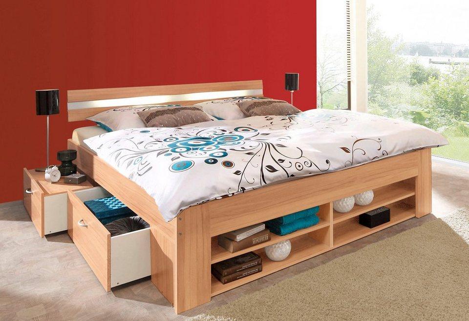 Bett, wahlweise mit Rollrost und Federkernmatratze in kernbuchefarben