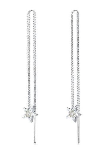 Elli Paar Ohrhänger »Sterne Astro Kette Kristalle 925 Silber«, Astro