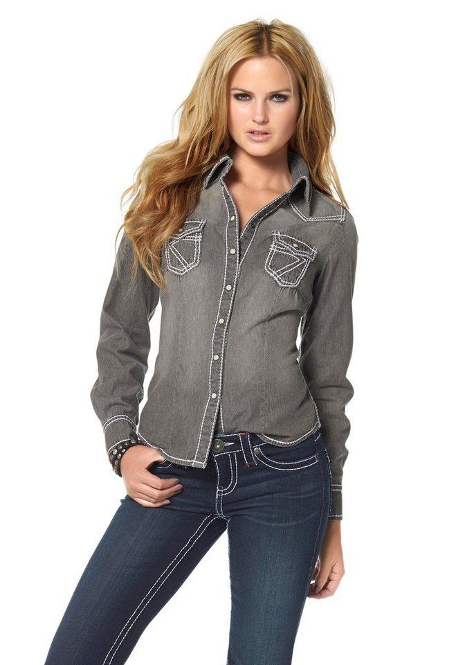 Arizona Jeansbluse »Kontrastnähte« in grey-used
