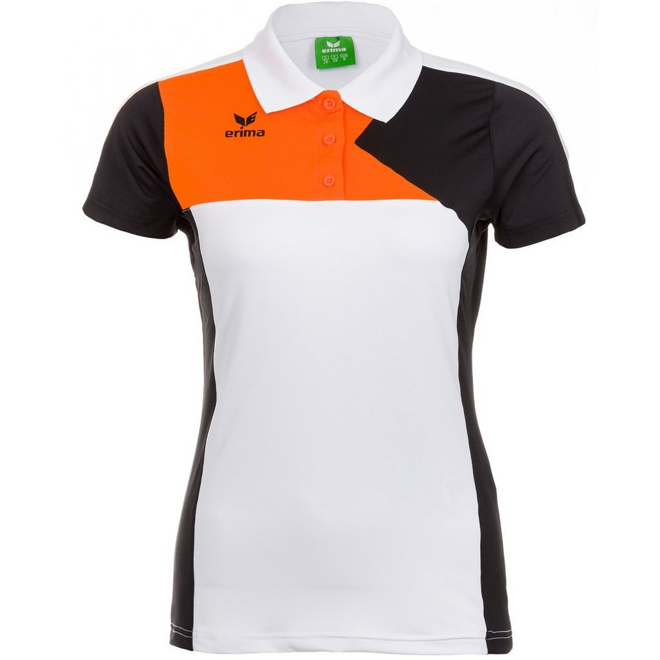 ERIMA Premium One Poloshirt Damen in weiß/schwarz/orange