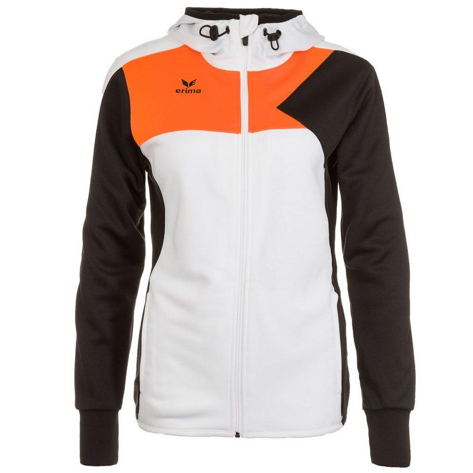 ERIMA Premium One Trainingsjacke mit Kapuze Damen in weiß/schwarz/orange