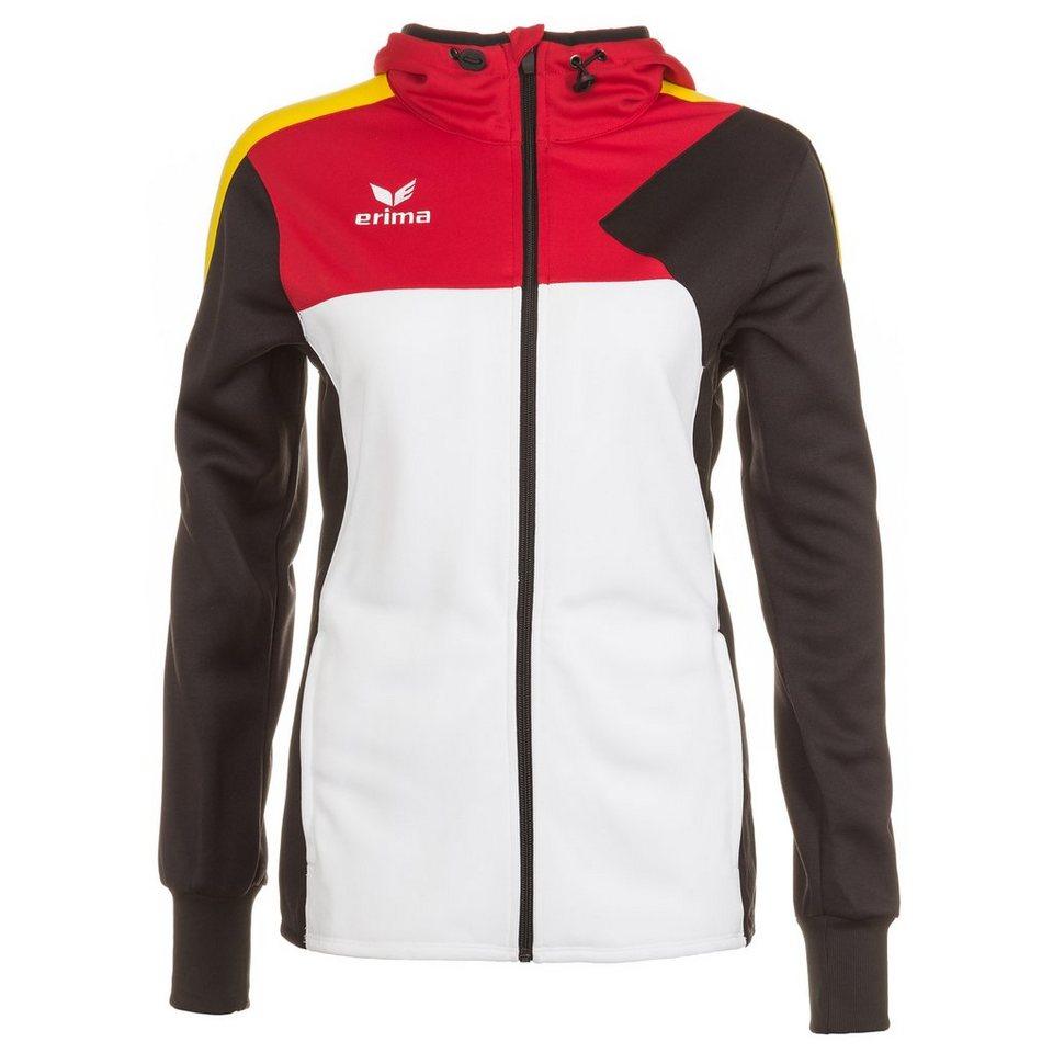 ERIMA Premium One Trainingsjacke mit Kapuze Damen in weiß/schwarz/rot