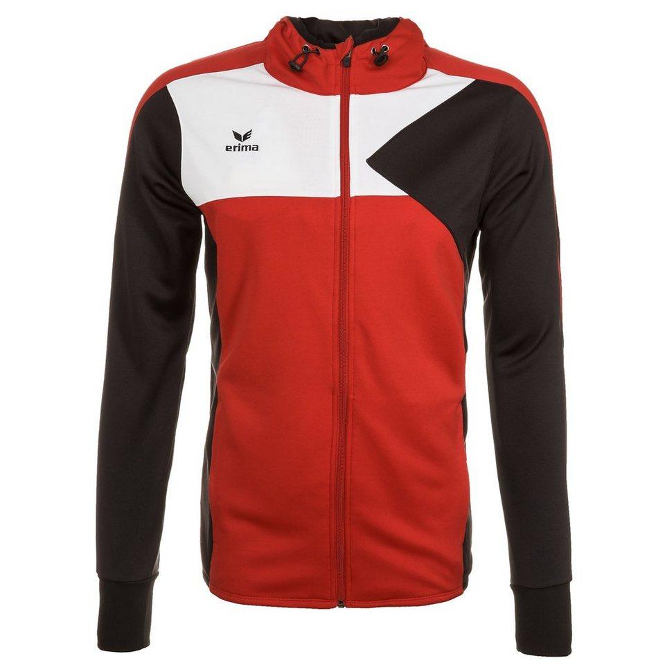 ERIMA Premium One Trainingsjacke mit Kapuze Kinder in rot/schwarz/weiß