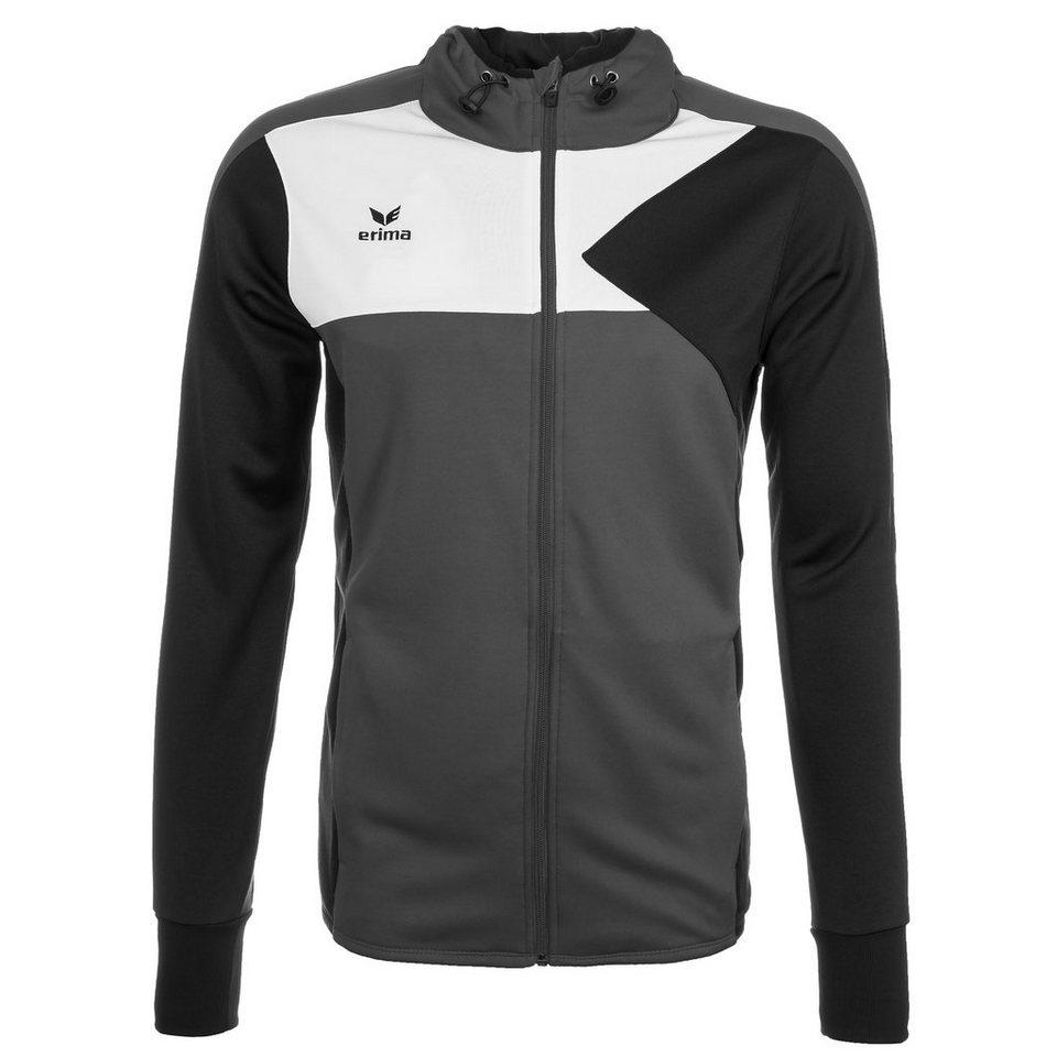 ERIMA Premium One Trainingsjacke mit Kapuze Kinder in granit/schwarz/weiß