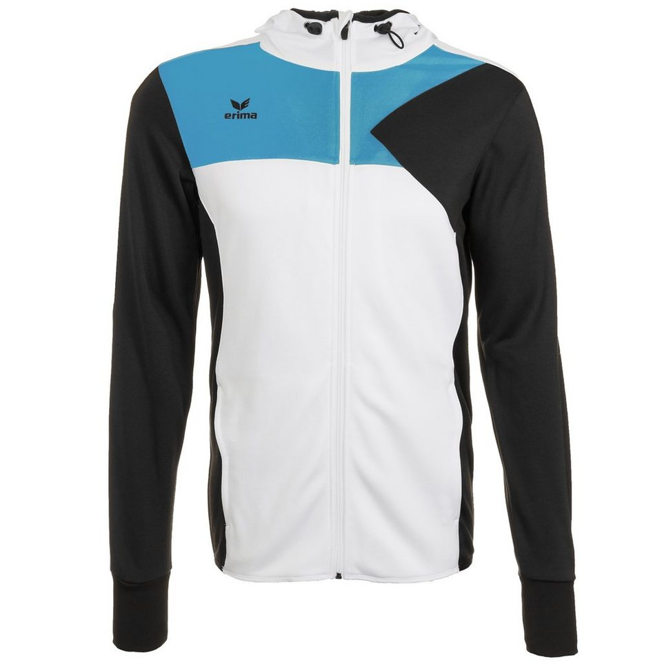 ERIMA Premium One Trainingsjacke mit Kapuze Kinder in weiß/schwarz/curacao