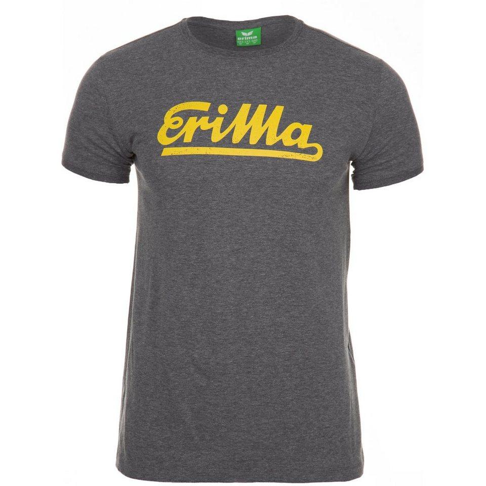 ERIMA Retro T-Shirt Kinder in grau melange/gelb