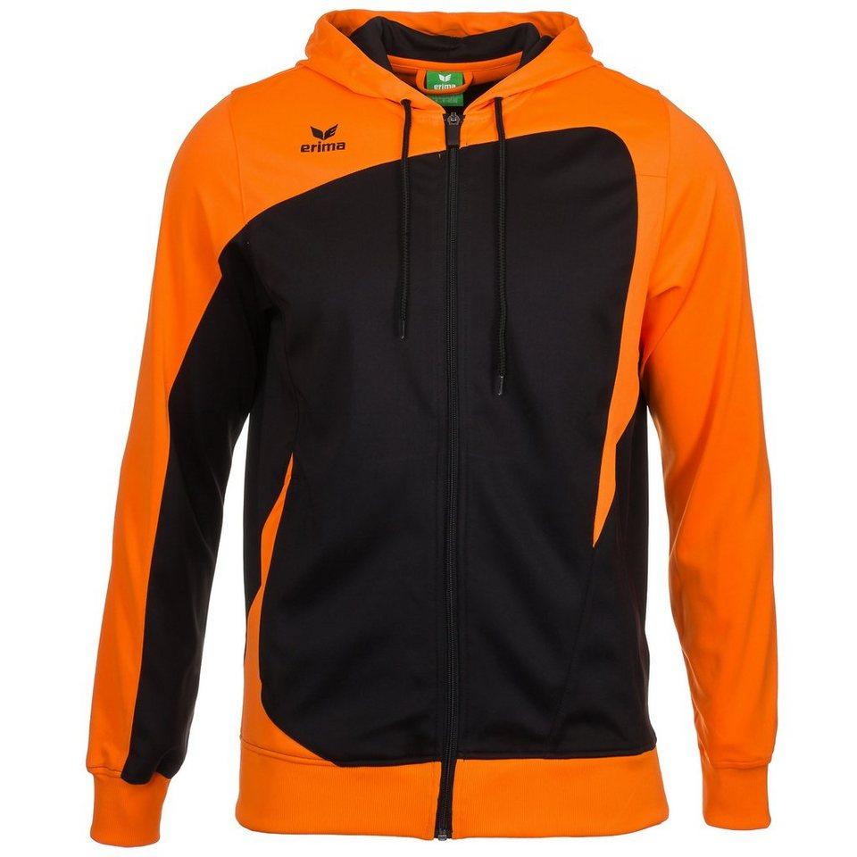 ERIMA CLUB 1900 Trainingsjacke mit Kapuze Kinder in schwarz/neon orange