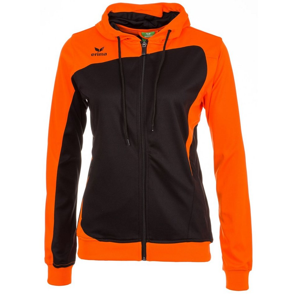 ERIMA Club 1900 Trainingsjacke mit Kapuze Damen in schwarz/neon orange