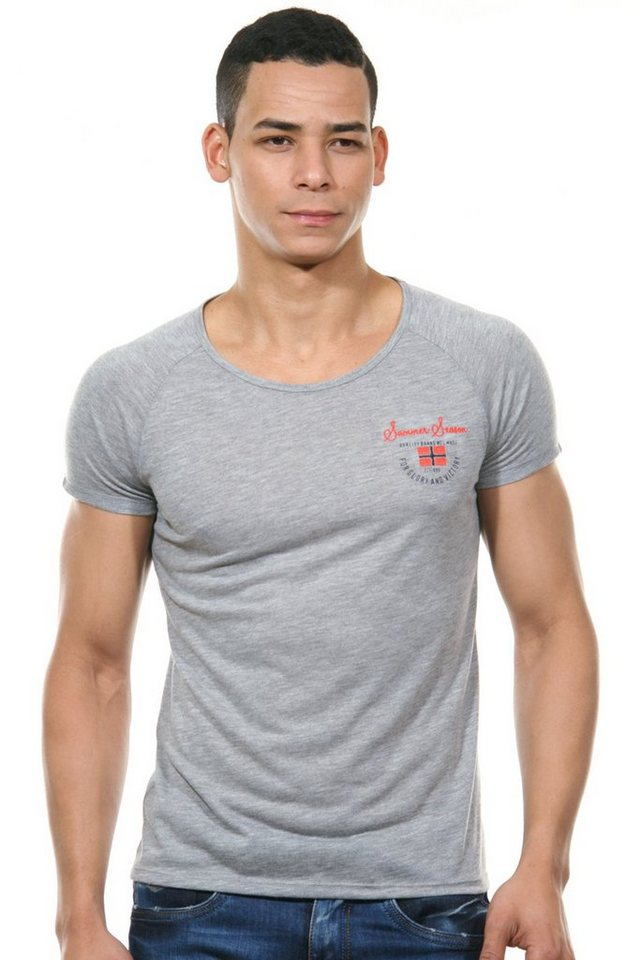 MCL T-Shirt Rundhals slim fit in grau melange