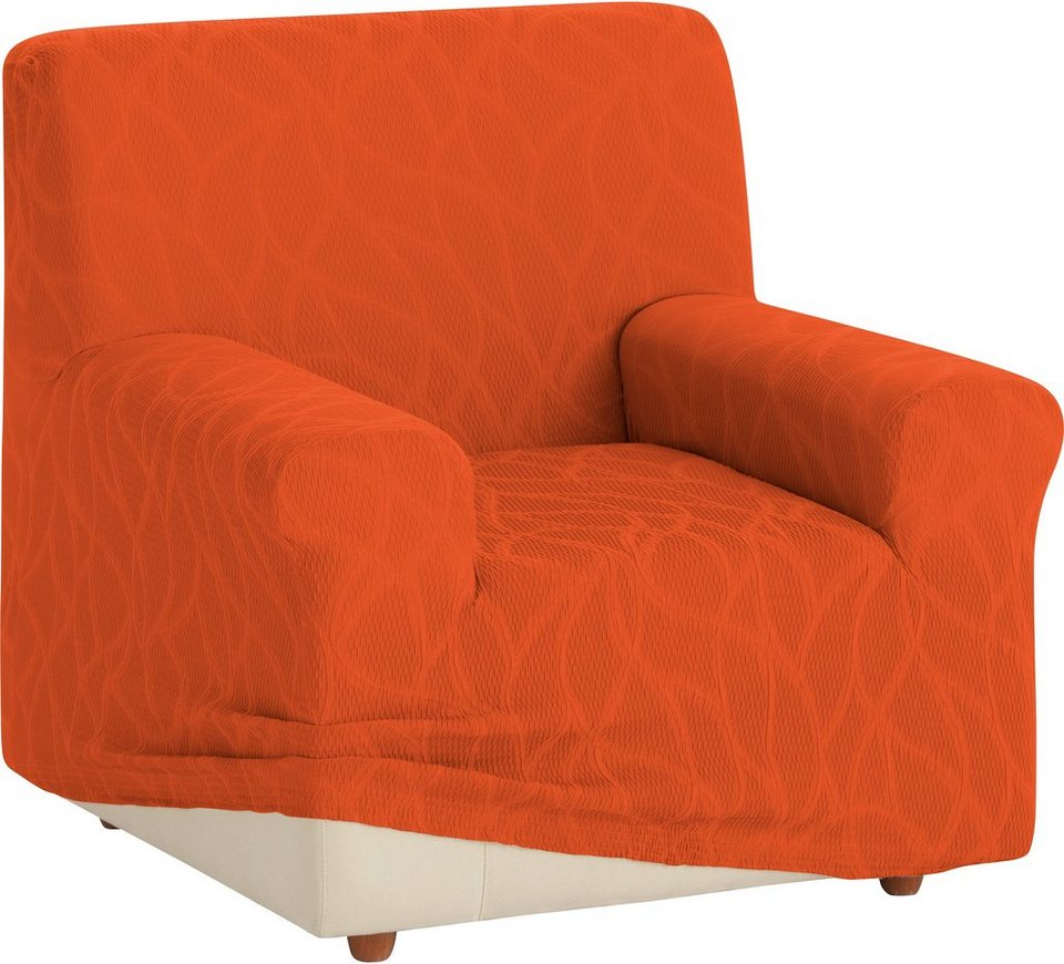 Sesselhusse, Zebra, »Alexia«, mit geschwungenen Linien in orange
