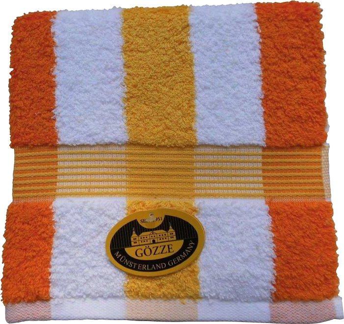 Badetuch, Gözze, »New York Streifen«, mit feiner Bordüre in orange-weiß