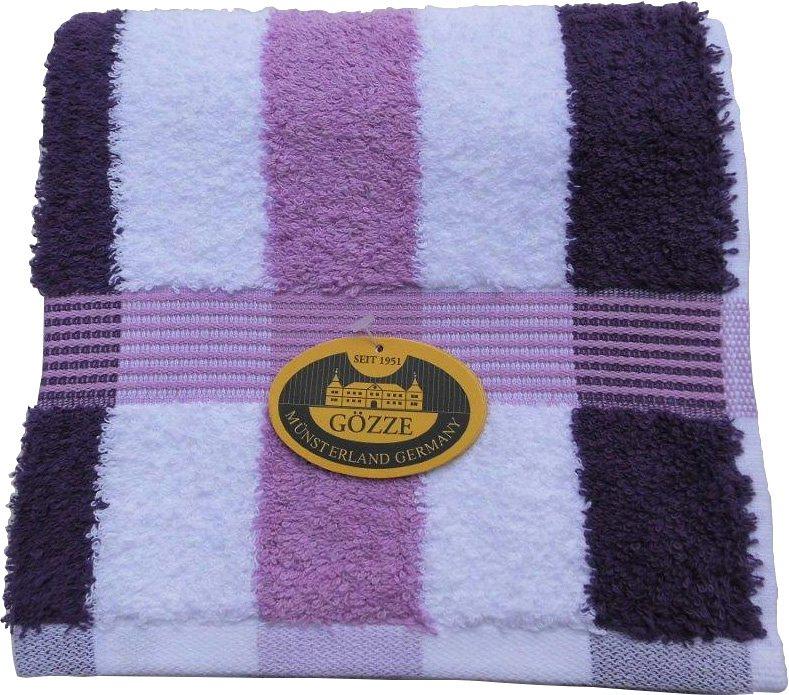 Badetuch, Gözze, »New York Streifen«, mit feiner Bordüre in lila-flieder