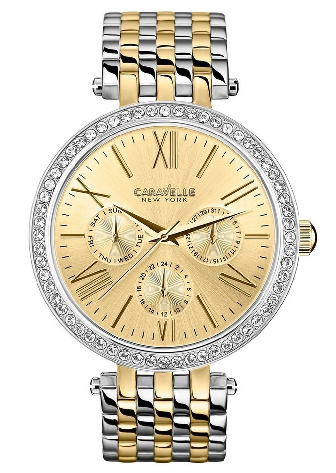 Caravelle New York Multifunktionsuhr »Crystal, 45N100« in silberfarben-goldfarben