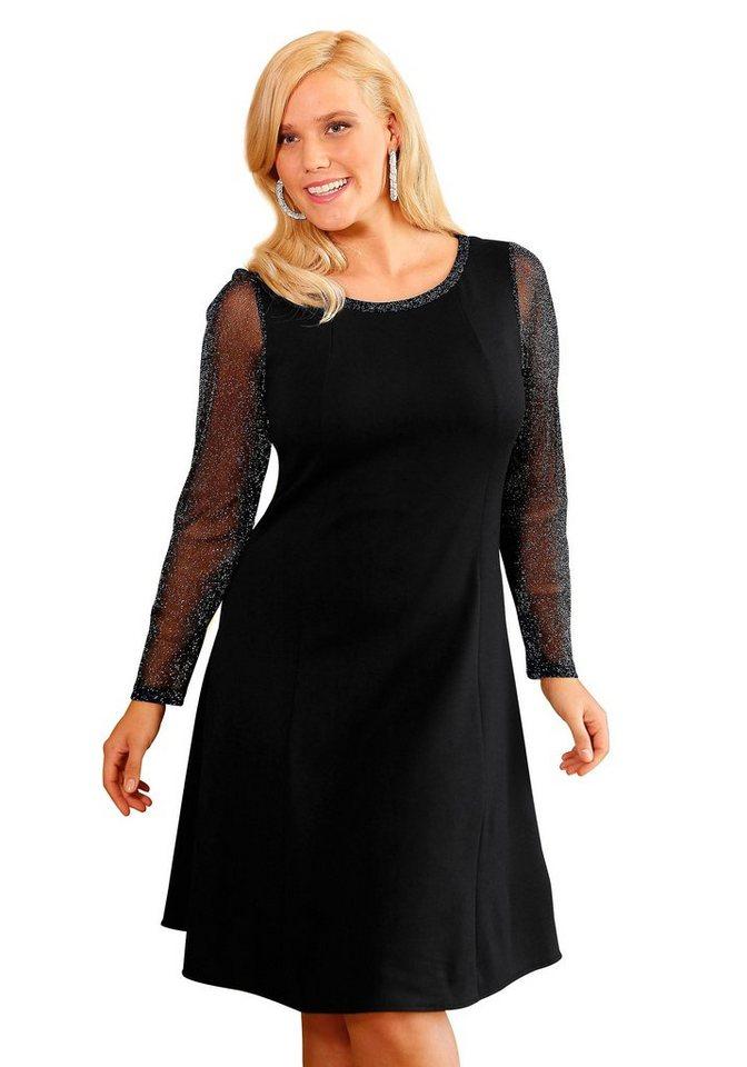 Jerseykleid in schwarz-silberfarben
