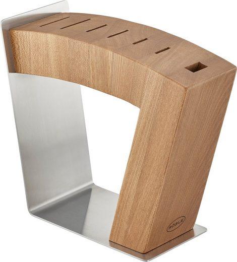 RÖSLE Messerblock »MoveX«, Design-Messerblock aus Edelstahl und Ulmenholz, sichtbare Klingen, zwei Standpositionen, standfest, unbestückt