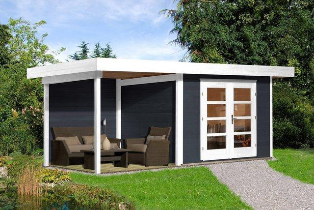 Weka Set: Gartenhaus Chill-Out Gr. 1, BxT: 530x210 cm, mit Anbau (235 cm breite) anthrazit/weiß