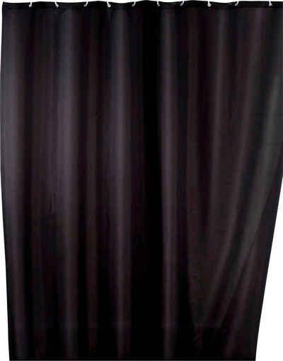 WENKO Duschvorhang »Uni Black« Breite 180 cm, Höhe 200 cm, Polyester, waschbar