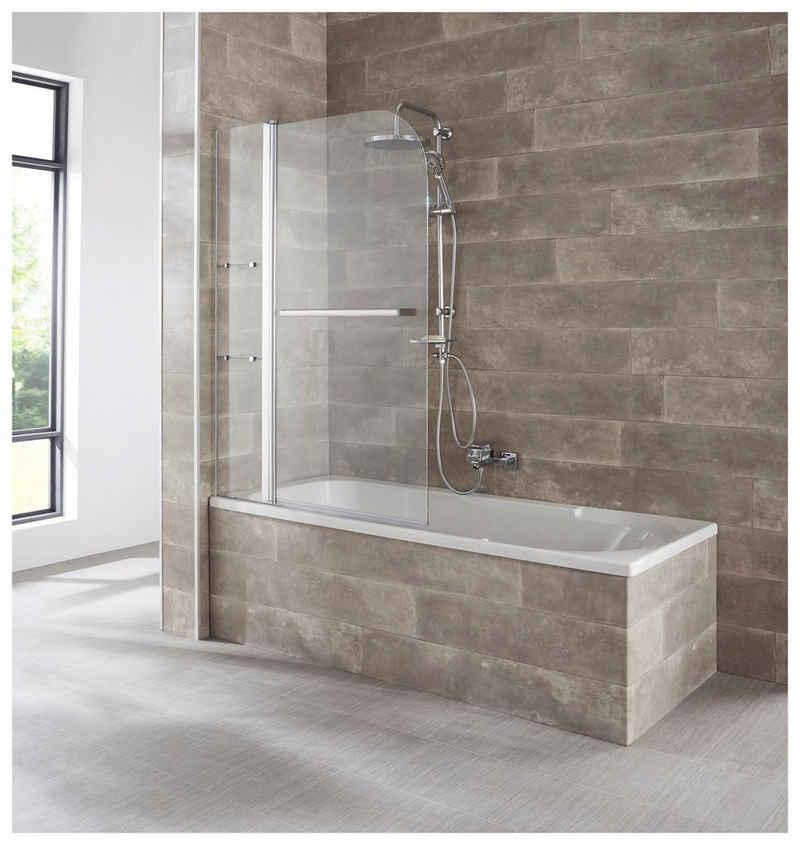 welltime Badewannenaufsatz »Girona«, Einscheibensicherheitsglas, (2 tlg), mit verchromtem Handtuchhalter und Glasablagen