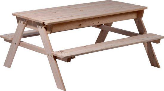 dobar Wasserspieltisch, BxTxH: 107x94x51 cm, Holz, mit 2 abdeckbaren Matschkisten